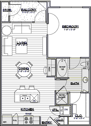 A1 - One Bedroom / One Bath - 700 Sq. Ft.*
