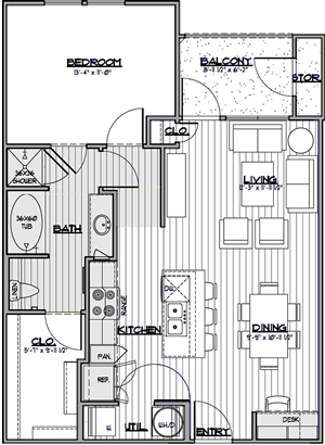 A2 - One Bedroom / One Bath - 777 Sq. Ft.*