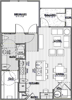 A3 - One Bedroom / One Bath - 777 Sq. Ft.*