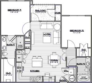 B1 - Two Bedroom / Two Bath - 943 Sq. Ft.*