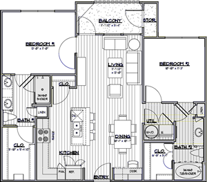 B2 - Two Bedroom / Two Bath - 1,014 Sq. Ft.*