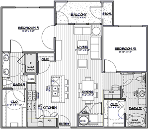 B3 - Two Bedroom / Two Bath - 1,014 Sq. Ft.*