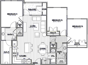 C1 - Three Bedroom / Two Bath - 1,151 Sq. Ft.*
