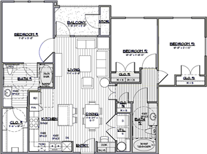 C2 - Three Bedroom / Two Bath - 1,151 Sq. Ft.*